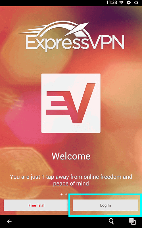 tap the log in button on expressvpn
