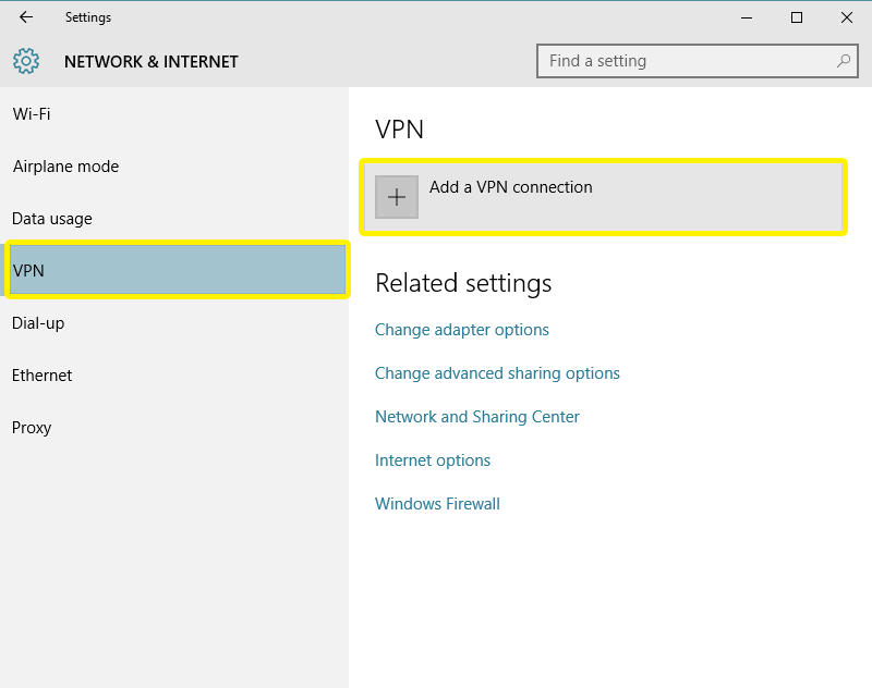 add a vpn connection
