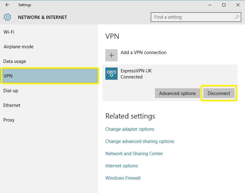 disconnect from the vpn server